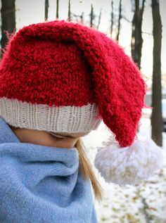 Santa Hat * Christmas Hat * Knit Womens Hat (for Kid and Adult) * Chunky winter hat * Womens Accessories by LeSiCraft on Etsy