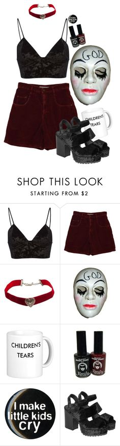 """""""get in loser, we're going purging"""" by maplesyruptears ❤ liked on Polyvore featuring Fleur du Mal, EMILY THE STRANGE and Monki"""