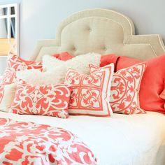 coral pillows, great for springtime! | Lili Alessandra Jon L Linen Coral Pillow Sham