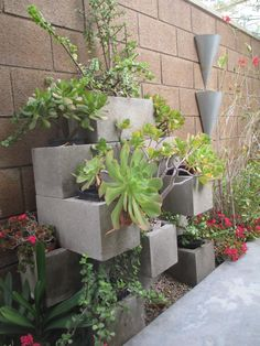 This is by far my favorite DIY.  I couldn't believe cinder blocks can make such beautiful planters.   For this project, I bought 12 blocks. Each block was about $0.98 at Lowes.  It took me 1 hour to arrange the way I like it...and a backache afterwards!  But look how it turned out!  I love it!  I get so many compliments from friends and family.     What you need:   	12 cinder blocks 	11 planters 	11 plants 	soil