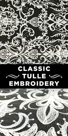 Classic Floral Embroidery on Tulle #Italy #Pattern #Fabric