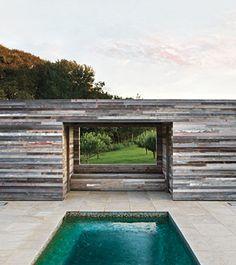inspiration for barn house -- reclaimed wood poolhouse via Elle Decor