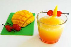 Mango-Cherry Slush. Ingredients: Fresh mango, water, orange juice, sugar, fresh lemon juice, maraschino cherry juice. Garnish with maraschino cherries on a stick.