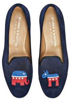 vote, election, 2012 election, president, presidential election, republican, democrat, donkey, elephant, election slippers, slippers, house slippers, political slippers, politics, fashion, smoking slippers, loafers