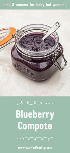Delicious Blueberry Compote baby sauce recipe perfect for BLW. This sauce is full of yummy goodness and wonderful to use as a dip or spread. via @https://www.pinterest.com/babyledfeeding