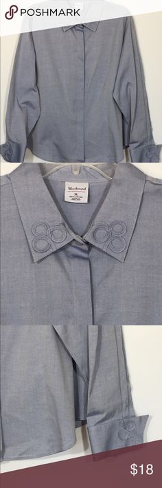 """NWT Westbound Shirt/Top NWT top has never been worn and has no stains or pilling or tears. This top was purchased at Dillard's. 100% cotton. Pretty scroll appliqué on collar and cuffs. Measures 24 3/4"""" across from armpit to armpit and 25"""" long. Please ask questions and check out bundling to save. Westbound Tops Button Down Shirts"""