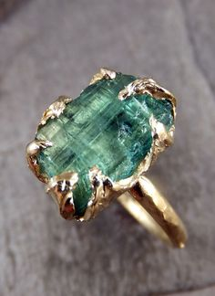 Raw Sea Green Tourmaline Gold Ring Rough Uncut Gemstone tourmaline recycled beauty.....