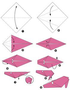 Diagramme d'origami de chaussure