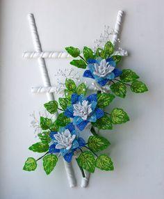 Цветы из бисера / комплект цветы / цветы стена / от KrainaHandmade