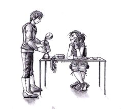 The second in a series of black and white pencil drawings I did especially for this pinterest contest. Most of the series features couples' moments in the first 1-3 books. This here is Cinder and Kai's first meeting.