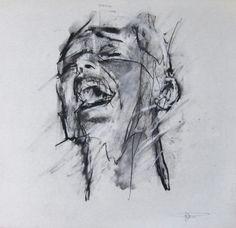 Guy Denning 'occupy (Brooklyn bridge arrest' chalk and conte on paper 30 x 28 cm 10th December 2011
