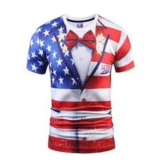 871a33b7fba3 New 3D US Flag Print Funny T-Shirt For Men Casual Short Sleeve Graphic Tee