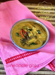 Pineapple Gojju - a sweet and sour #curry from #Karnataka #indiancurry #curryrecipe  #karnatakacuisine #indiancooking #indianrecipes