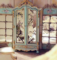 Miniature painted French armoire by  Maritza Moran, Maritza Miniatures. ~? Good Sam Showcase of Miniatures: Dealer Maritza Moran: Furniture & Accessories