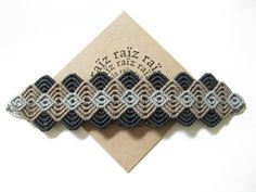 Modern Macrame Bracelet . Handwoven Textile Wristband Fiber Jewelry . Boho Hippie Chic . Gray . Metal Free Jewelry Hypoallergenic . by raiz