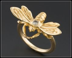 Vintage 14k Gold & Diamond Bee Ring by TrademarkAntiques on Etsy