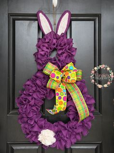 Purple Bunny Wreath, Ruffle Burlap Bunny Wreath, Spring Burlap Wreath, Easter Burlap Wreath, Spring Wreath, Easter Wreath, Bunny Wreath by VirgiesTreasures on Etsy