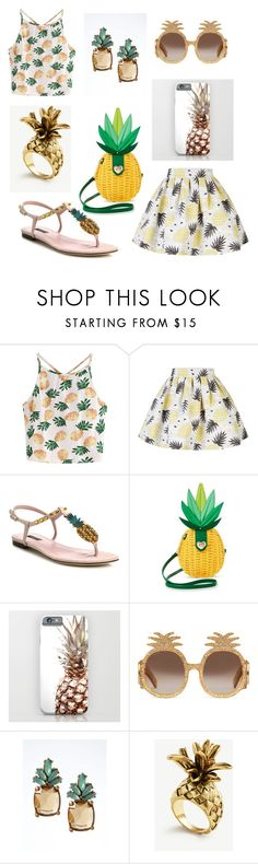 """""""Pineapple🍍🍍🍍"""" by nirvannaopancar ❤ liked on Polyvore featuring WithChic, Alice + Olivia, Dolce&Gabbana, Betsey Johnson, Gucci, Banana Republic and Ann Taylor"""