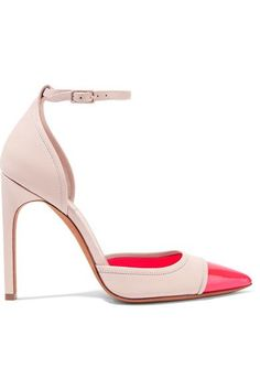 Heel measures approximately 115mm/ 4.5 inches Beige leather Papaya patent-leather pointed toe Buckle-fastening ankle strap Made in Italy