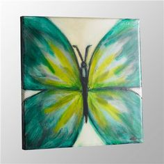 Colorful Butterfly Wall Painting on Canvas - Art inspiration Easy Canvas Painting, Diy Canvas, Diy Painting, Painting & Drawing, Canvas Art, Canvas Paintings, Canvas Ideas, Kids Painting Class, Canvas Collage