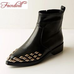 68.25$  Watch now - http://ai218.worlditems.win/all/product.php?id=32706154422 - genuine leather 2016 new fashion black low heels pointed toe rivets women autumn winter ankle boots square heel casual shoes