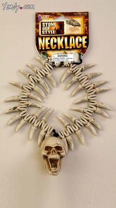 Tooth Pendant Necklace Animal Teeth Skull Head Fancy Dress Cave Man HALLOWEEN