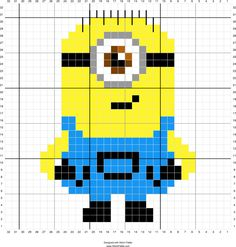Minion stuart | Designed by Suzy Walkling | Stitch Fiddle - Stitch Fiddle