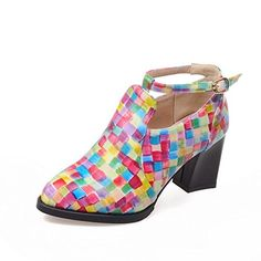 Pumps Mary Jane  BalaMasa Womens Fashion Plaid Pattern Heel Color Matching Thick Bottom Heel MultiColored Imitated Leather PumpsShoes  9 BM US <3 This is an Amazon Associate's Pin. Detailed information can be found on Amazon website by clicking the image.