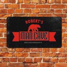 Metal Man Cave Bear Sign, $28.99