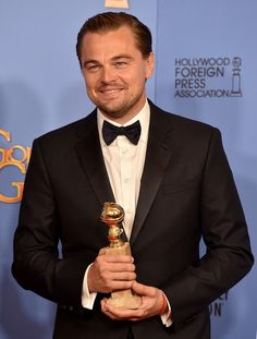Actor Leonardo DiCaprio, winner of Best Performance in a Motion Picture - Drama for 'The Revenant,' poses in the press room during the 73rd Annual Golden Globe Awards held at the Beverly Hilton Hotel on January 10, 2016 in Beverly Hills, California.