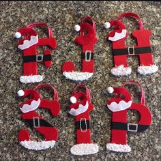 Christmas ornaments Hand Painted Wooden Santa Ornaments All Letters Available Kids Christmas Ornaments, Homemade Christmas Gifts, Christmas Crafts For Kids, Handmade Christmas, Christmas Fun, Holiday Crafts, Santa Ornaments, Letter Ornaments, Christmas Letters