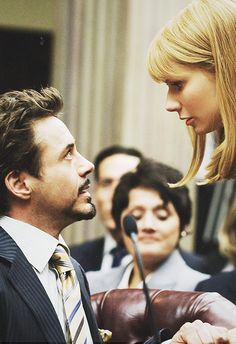 Tony and Pepper at the Senate hearing (Iron Man 2).