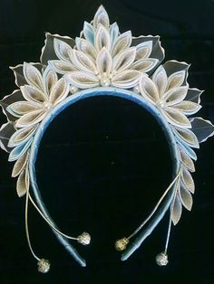 Crown for the girls for Christmas or New Year. Kanzashi. Color white with blue and silver