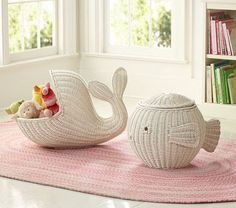 wicker whale and wicker fish by weigs
