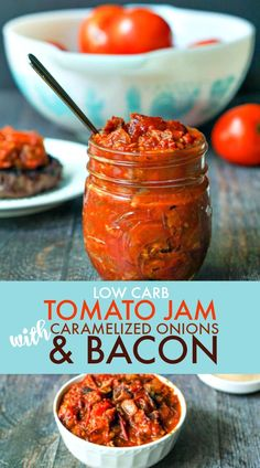 Add to grilled cheese sandwiches! This low carb tomato jam is packed with flavor from the caramelized onions to the bacon to the sweetness of the tomatoes. Perfect on burgers, chicken or fish. Only net carbs for 2 tablespoons! Jelly Recipes, Bacon Recipes, Jam Recipes, Canning Recipes, Bacon Jam Canning Recipe, Preserving Recipe, Spinach Recipes, Bacon Tomato Jam, Tomato Relish