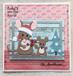 Toch nog een kerstkaartje met de schattige muisjes, ik kon het niet laten. Moeder met babymuis bij de kerstboom: 'baby's eerste kerst'. ...
