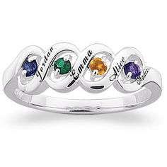 Buy Sterling Silver Ribbon Family Name & Birthstone Ring at Limoges. Xmas present for mom??