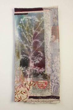 Cas Holmes, Lace Shadows, 90 x 50 Cas Holmes, Creative Textiles, Thread Art, Abstract Nature, Machine Embroidery Applique, Textile Artists, Fabric Art, Collage Art, Fiber Art
