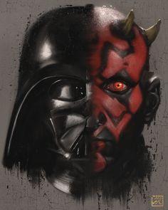 Star Wars - Darth Vader and Darth Maul by Franco Rivolli Vader Star Wars, Darth Vader, Star Trek, Starwars, Amidala Star Wars, Star Wars History, Images Star Wars, Star Wars Tattoo, Star Wars Birthday
