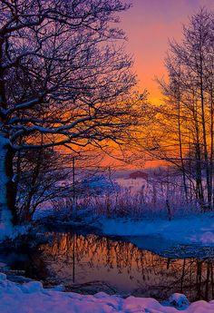 Sweden twilight in winter