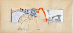 Amir Tomashov, Sketch for a wall painting 2, 2010, Mixed media on recycled paper, 38cm x 78cm