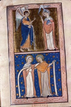 Royal 1 D X f.1 Annunciation and Visitation. Dates to 1200-1220