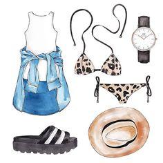 Good objects - Going to the beach tomorrow !  Triangl bikini @triangl_swimwear + white dress + denim shirt + Addidators @vdamianistore + Classic sheffield @danielwellingtonwatches + hat #goodobjects