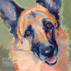 """""""Ollie,"""" x commissioned portrait of a German Shepherd, acrylics on a museum quality panel, a special gift for Ollie's . Animal Stencil, German Dogs, Farm Art, Schaefer, Unique Animals, Dog Portraits, Princesas Disney, Minimalist Art, Animal Paintings"""