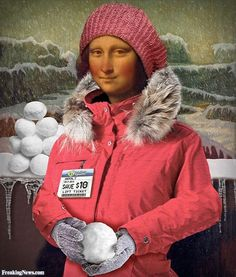Mona Lisa In Winter At The Ski Lodge