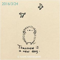 801 Tomorrow is a new day.  #illustration #hedgehog #イラスト #ハリネズミ #illustagram