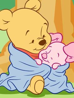 """Baby Pooh and Baby Piglet Cuddled Together in a Warm, Fluffy Blanket. """"Winnie the Pooh and Friends"""" Pooh Baby, Cute Winnie The Pooh, Winne The Pooh, Disney Drawings, Cute Drawings, Baby Disney Characters, Disney Mignon, Baby Piglets, Disney Babys"""