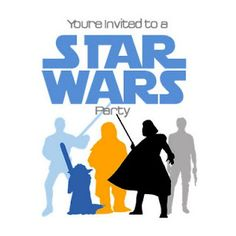 star wars party invite - printed it on Avery postcards and the party information on the back side in coordinating blue and orange!