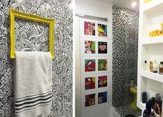 Galeria do Leitor DIY - Reforma de banheiro, decoração com quadros e adesivos de super heróis.