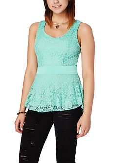 image of High Low Double Layer Lace Peplum Top
